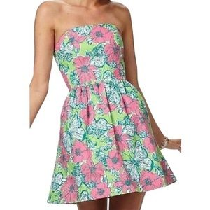 LILLY PULITZER Green Bloomin' Cacoonin Lottie Pattern Cocktail Dress Size 6